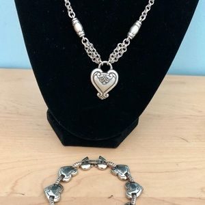 Brighton silver heart necklace and bracelet set